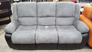 Grey microsuede reclining couch - Delivery Available