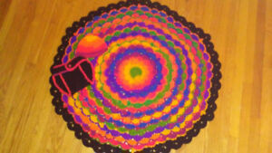 Circle baby blanket with diaper cover and hat