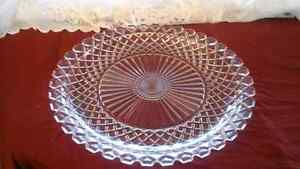 PRESSED GLASS PLATTER 14 INCHES, VINTAGE EAPG