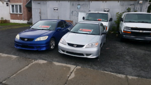 2 Honda Civic  a vendre 2005  1600 et 2000