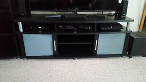 black tv stand and media console