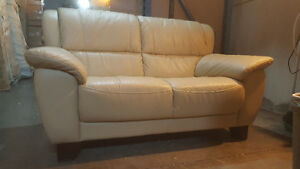 Leather Loveseat Cream For sale