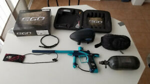 Ego 11 Blue-Black Paintball Marker with tank, tankcover, + rotor