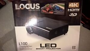 "LOCUS L100 4K HD 3D PROJECTOR W/ 65"" SCREEN"