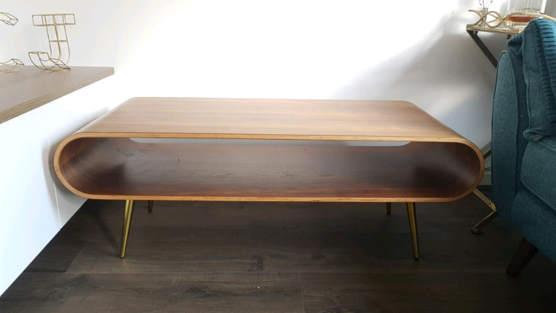 Made Hooper Storage Coffee Table Natural Walnut And Brass In