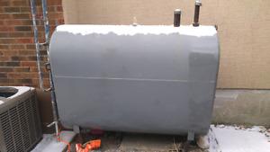 Furnace oil tank with oil in it half full