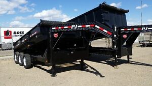 PJ 16 FT,  GOOSE NECK DUMP TR. 3-7K AXLES &  SOLD WITH SPARE