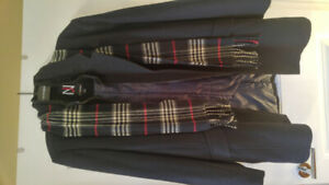 Mens 60% wool blend coat with scarf