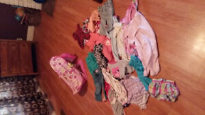 Huge bag of baby clothing and pink baby tub
