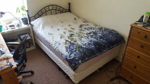 Bed (Double), includes mattress, boxspring, and bed frame