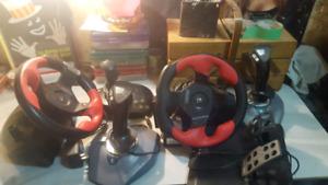 P C Gaming stuff steering  wheels jot sticks