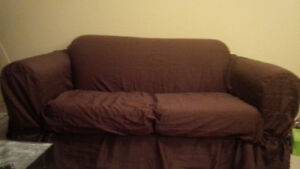Couch and Loveseat with Brown Slipcovers