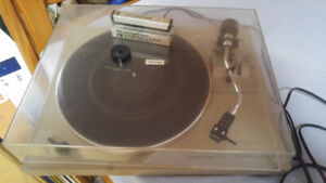 Pioneer turntable and vintage record collection