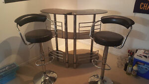 Glass bar and stools