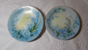 Pair of Matching Hand Painted Antique LIMOGES Plates