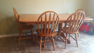 Solid Oak Dining Set - Table and 8 chairs
