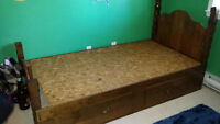 SOLID WOOD. BED/FRAME/HEADBOARD FOOT BOARD/MATTRESS