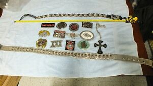 Selection of Belt Buckles, Belts & Cross on chain.