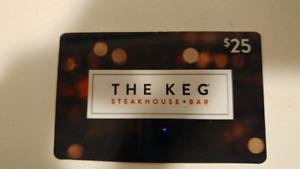 Keg steakhouse $25 gift card