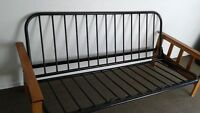 BLACK WITH WOODEN ARMS FUTON FRAME,IN GREAT CONDITION,