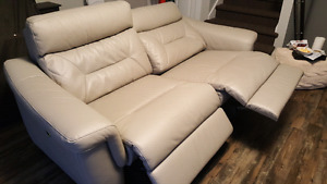 Electric reclining leather couch