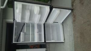 LG stainless steel freezer on bottom fridge
