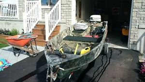 Springbok 12' aluminum boat, Johnson 8hp and trailer package