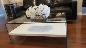 Glass coffee table with with shelf