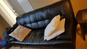 Black Leather Couch (Futon)