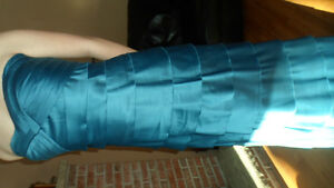 NEW - flr length teal strapless gown stretch satin Peterborough Peterborough Area image 2