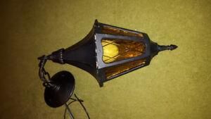 Vintage cast 1950's SNOC amber glass hanging porch light
