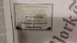 Oct 30, 1944 Certificate of Authenticity paper