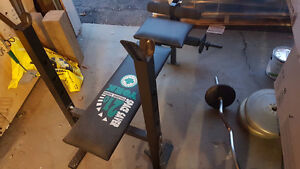 Folding Bench, Barbell, Weights
