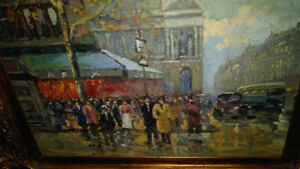 Gold Antique Frame, painting of beautiful Parisian street scene