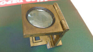 ANTIQUE BRASS FOLDING MAGNIFYING LOUPE MADE IN FRANCE