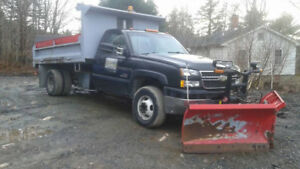 DUALLY DUMP TRUCK WITH BOSS V BLADE PLOW
