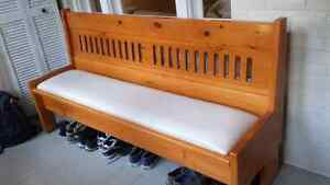 Solid pine bench with built in storage