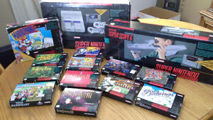 Nintendo SNES console and games