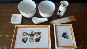 New Sushi Dining Set - Bowls, Plates, Spoons, Chop Sticks