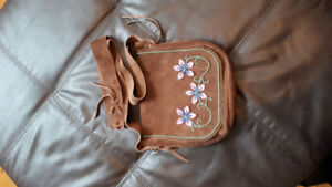 Brown beaded leather purse