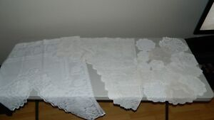 2 Curtains & 15 Doilies $50.00 or BO