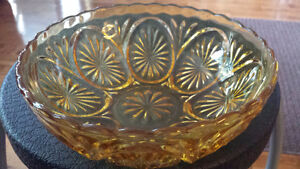 3 Vintage Cut Glass Bowls In A Light Amber Colour For Sale!