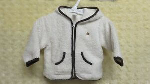 Baby Gap Baby Boy Soft Fleece Jacket Beige/Brown Trim 6-12 Mths