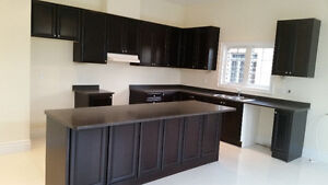 Beautiful never used dark brown kitchen cabinets