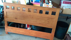 Wood double headboard