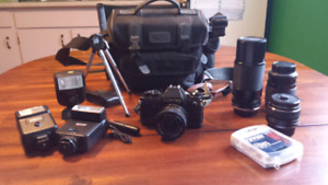 Contax SLR camera with 4 Yashica lenses