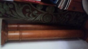 2 antique wood columns