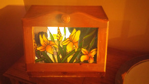Breadbox with stained glass