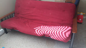 Red futon and frame for sale