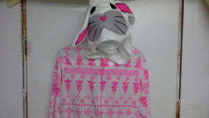 white & pink Christmas bunny onesie pajama for adults *new*